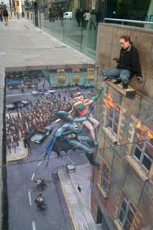 Batman and Robin pavement art Image