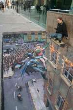 Batman and Robin pavement art